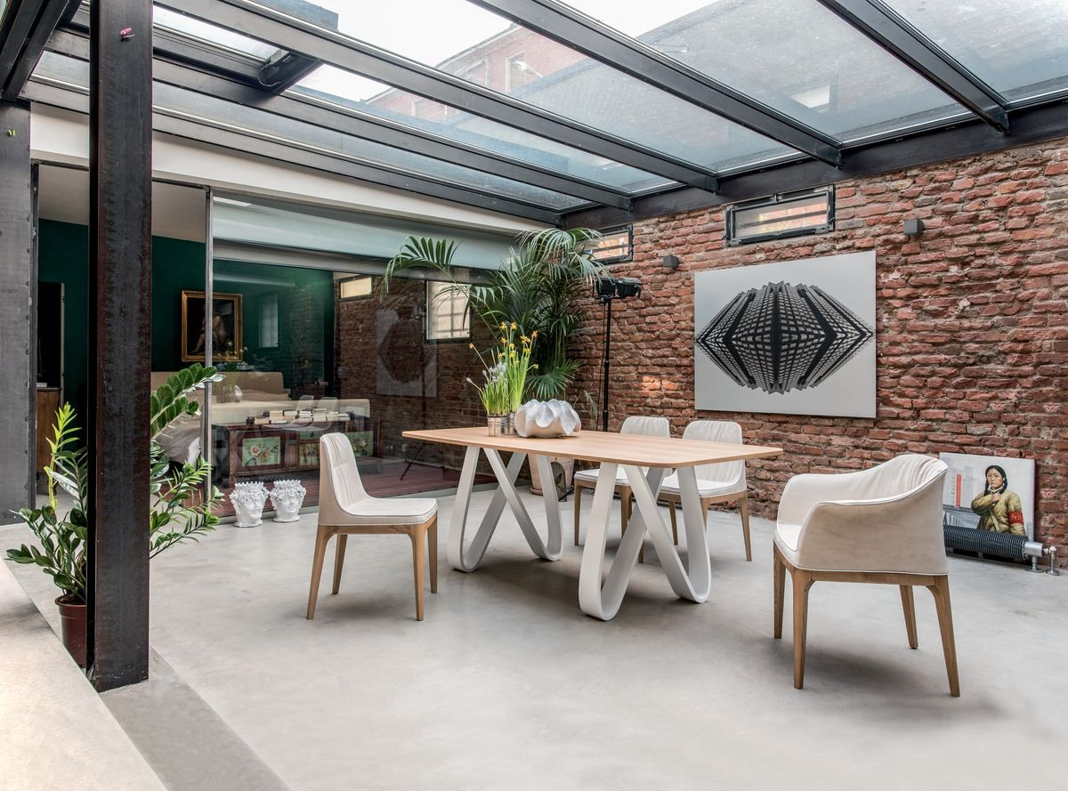 BUTTERFLY, Table extensible ou fixe, avec plateau en verre, bois, marbre ou céramique