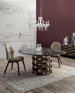 COLOSSEO, Table fixe ou extensible avec base en bois massif rond ou elliptique