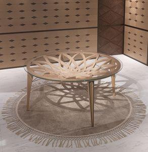 TA63 Galileo table, Table ronde en bois et en verre, pour les salons modernes
