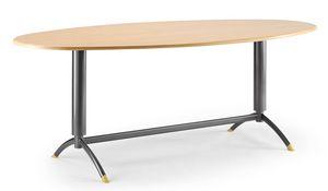 KOMBY 947, Table avec base en métal laqué, dessus en stratifié