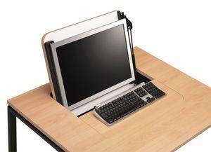 KUDOS 974, Rétractable table de stockage PC, en métal et en stratifié