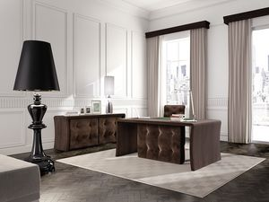 Wall Street table de bureau, Table tuftés à des postes exécutifs, en bois de chêne
