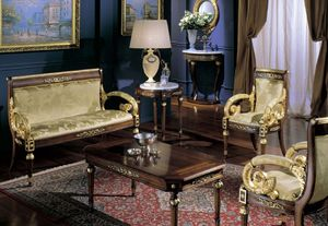 2715 SMALL TABLE LUIGI XVI, Table ronde classique, plateau en marbre de Carrare