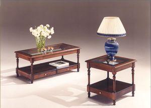 2980 TABLEAU, Tables en bois avec plateau en verre, style classique