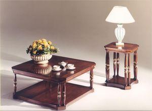 3035 TABLEAU, Table basse carrée en bois pour salons de style classique