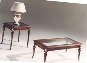 3040 TABLEAU, Table basse rectangulaire en bois marqueté, plateau en verre