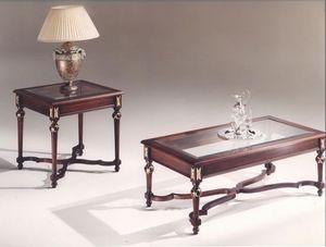 3045 TABLEAU, Tables rectangulaires avec plateau en verre, style classique