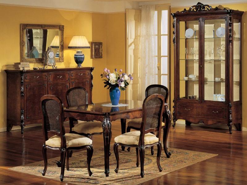 3085 TABLE, Table extensible rectangulaire, style classique de luxe, en bois de noyer