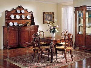 3145 TABLE, Table carrée extensible classique, en bois de noyer