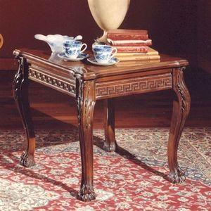 3175 TAVOLINO, Table basse avec plateau carré en bois sculpté, style classique
