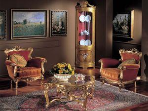 3195 COFFEE TABLE, Table basse en bois, plateau en verre, classique