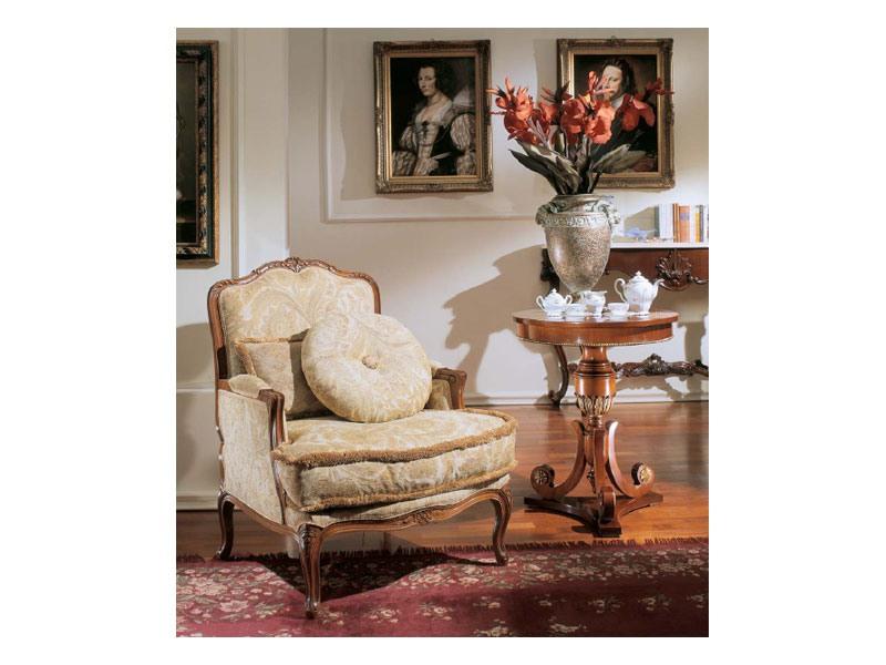 3210 SMALL TABLE, Table ronde pour les salons de luxe classiques, feuille d'or