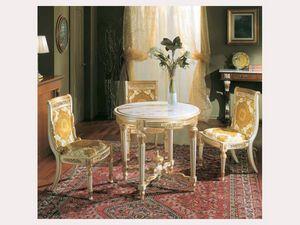 3280 TABLE LUIGI XVI, Table ronde avec dessus en faux marbre, en bois sculpt� � la main