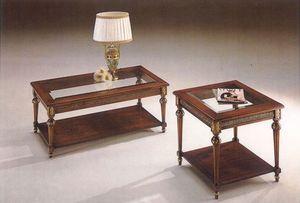 2945 TABLEAU, Table basse classique en bois avec plateau en verre