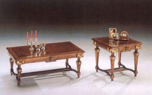2820 TABLEAU, Table basse en bois avec des lignes classiques, finition feuille d'or