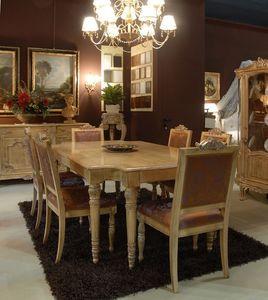 3485 TABLE, Table avec chaises rembourrées pour salle à manger, luxe classique