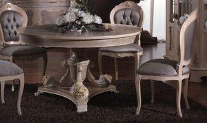 3640 TABLE, Table incrusté avec plateau rond approprié pour salles à manger