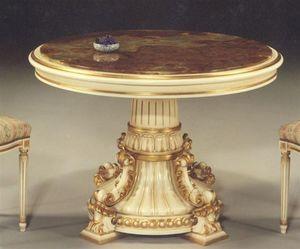 5030 TABLE, Table classique avec plateau rond approprié pour salles à manger