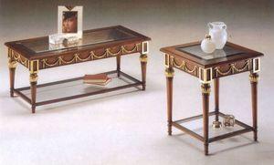 2575 TABLEAU, Table basse en bois, plateau en verre