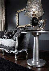 715 TAVOLINO, Table d'appoint classique avec plateau en verre noir