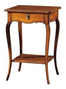Anselmo FA.0141, Table en bois classique avec 2 étagères et 1 tiroir