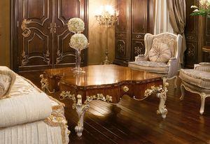Art. 1054, Table basse de luxe, haut en bois d'olivier, style classique