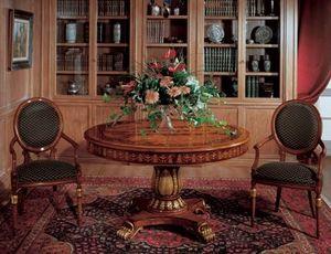 Art. 1112, Table ronde en bois incrusté de salles à manger