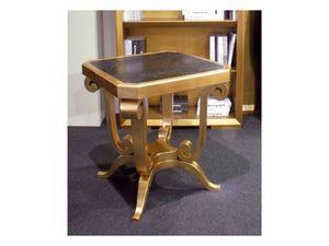 Art. 1380, Table basse en bois, haut éco-cuir, pour hall