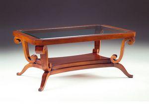 Art. 1385 Arca, Table basse en bois, plateau en verre, pour hôtel
