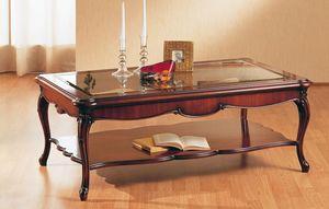 Art. 220/R, Décoré à la main une table basse, avec plateau en verre, pour salon