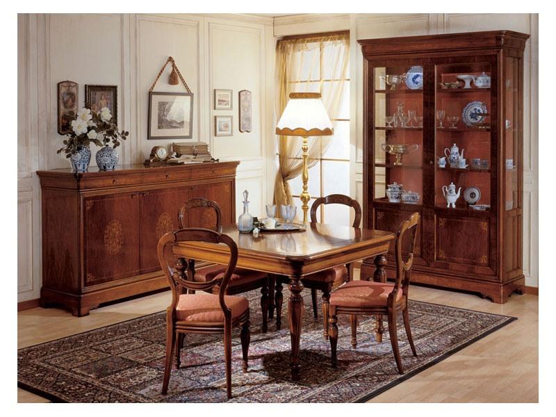 Art. 279 squared table '800 Francese, Tables à manger avec des jambes décorés à la main, pour l'ameublement classique