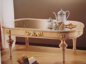 Art. 2803, Table ovale pour les classiques salons, plateau en verre
