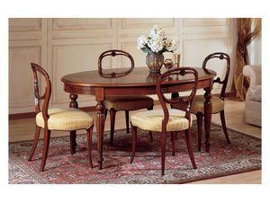 Art. 281 oval table '800 Francese, Table ovale, le luxe stile classique, en bois décoré