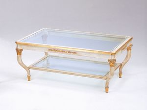 Art. 301 Mida, Table basse de luxe, sculpt�es � la main, avec 2 �tag�res en verre