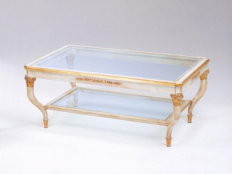 Art. 301 Mida, Table basse de luxe, sculptées à la main, avec 2 étagères en verre