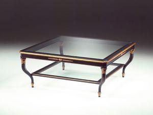Art. 301/Q Mida, Table basse en bois, plateau en verre, pour le salon