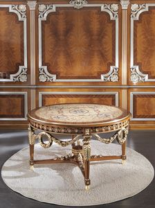 ART. 3098, Table de luxe ronde, avec incrustations en or