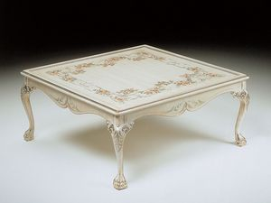 Art. 320/WD, Luxe table basse carr�e, d�cor�s � la main, salon