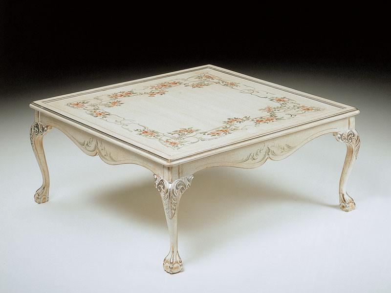 Art. 320/WD, Luxe table basse carrée, décorés à la main, salon