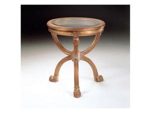 Art. 508 Atlante, Table ronde sculpté, plateau en verre, pour les salles de séjour