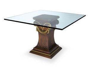 Art.528 dining table, Table avec plateau en verre et la base de hêtre, style classique