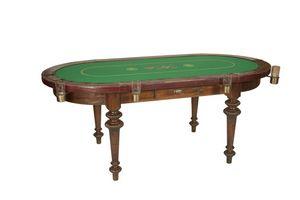 Art. 596, Table ovale pour le poker, finitions en cuir de veau