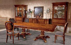 Art. 615/R, Table en bois rectangulaire, marqueterie, dans un style classique
