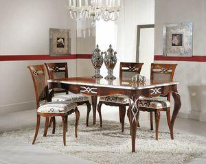 Art. 730, Table extensible rectangulaire avec décorations en feuilles d'argent
