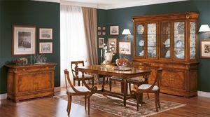 Art. 783, Table à manger classique, bois sculpté, fabriqué en Italie