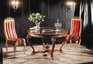 Art. 902, Table ronde classique avec plateau en verre