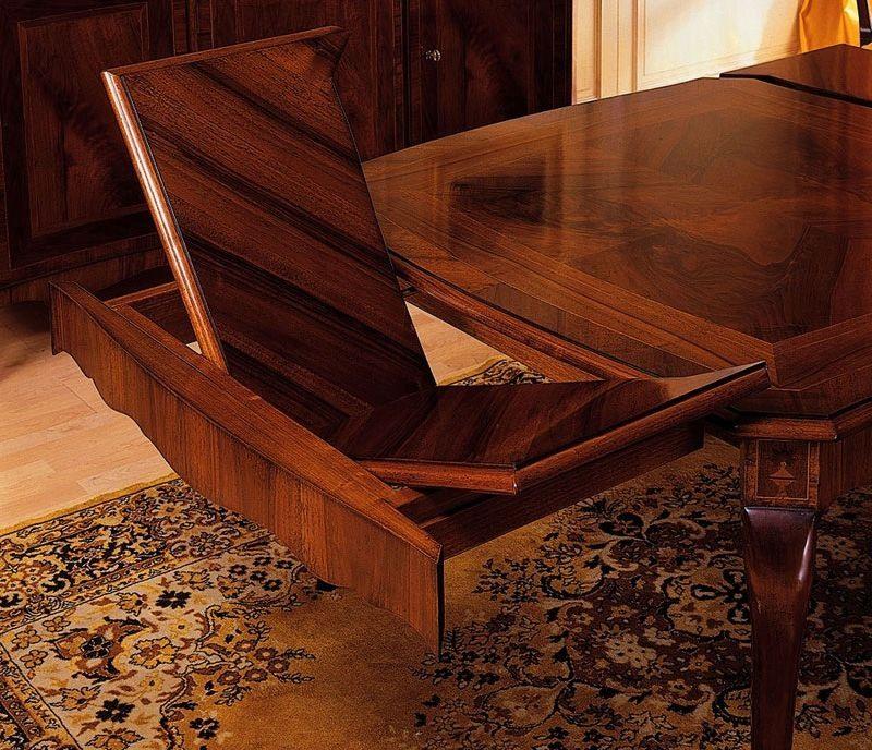 Art. 903 table '800 Francese, Tables classiques en bois travaillé, avec des extensions