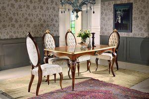 Art. 903, Table rectangulaire, avec décorations florales, pour salle à manger