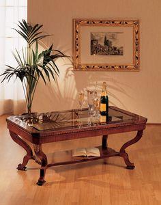Art. 962/R, Petite table de style classique, de luxe, en bois sculpté à la main