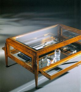 Art Déco Art.527 petite table, Table basse avec vitrine